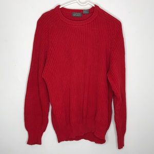 Lord & Taylor Chunky Knit Red Crewneck Sweater